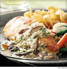 Chicken Breasts With Mushroom Cream Sauce  /  WebMD Recipe from EatingWell.com  The secret to a good cream sauce is always the same: not too much cream or it can be overpowering, masking the more delicate flavors. Here it contains a bountiful amount of mushrooms and is served over chicken breasts.