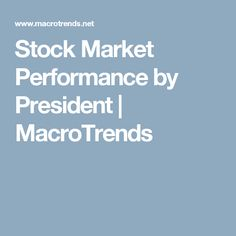 Stock Market Performance by President | MacroTrends