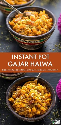 Delicious Gajar Halwa made in the Instant Pot! This Indian carrot pudding is flavored with ghee, cardamom, nuts and raisins! Veggie Recipes Healthy, Vegetarian Recipes Videos, Carrot Recipes, Vegetable Recipes, Indian Food Recipes, Indian Desserts, Indian Sweets, Chicken Recipes, Vegan Recipes