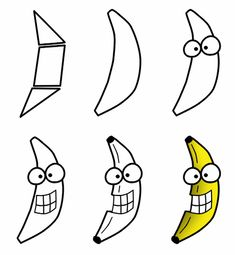 Drawing a cartoon banana can be boring. Things are more interesting if this one is made of a smile and eyes! :)