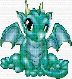 Cross Stitch Ideas Dragon - Free cross-stitch design 'Dragon', 122 x 133 stitches 25 colors Dragon Cross Stitch, Cross Stitch Baby, Cross Stitch Animals, Cross Stitch Charts, Cross Stitch Designs, Free Cross Stitch Patterns, Free Pattern, Cross Stitching, Cross Stitch Embroidery