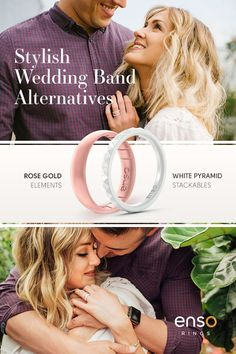 Rose Gold and elements-infused silicone rings. Alternative wedding bands for active lifestyles and fashion-forward couples from Enso Rings.