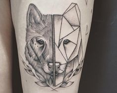 Tattoo by Arxe #wolf #polygon #minimalist #Tattoo #animal