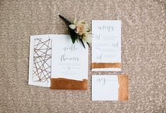Copper foiled wedding invite with modern calligraphy