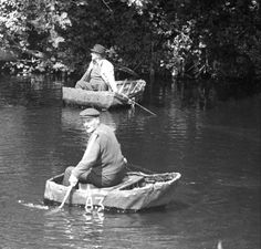 Coracles fishing on the River Teifi, 1972