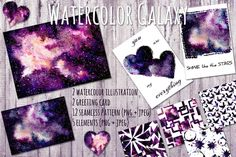 Watercolor Galaxy Set by Salted Galaxy on @creativemarket