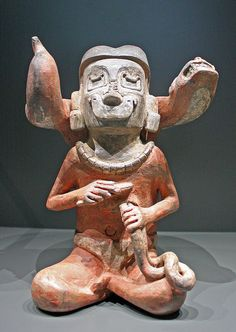 Pottery in the shape of a shaman, terracotta, Tembladera culture, Peru  Collection Janssen-Arts, MAS, Antwerp