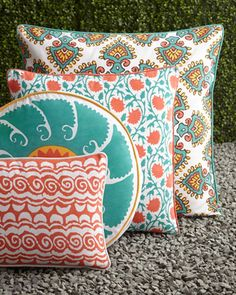 Patterned Outdoor Pillows by John Robshaw at Horchow. Garden decor color scheme: turquoise and orange.  Want these.