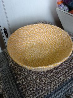 Bowl made from piping cord & fabric strips