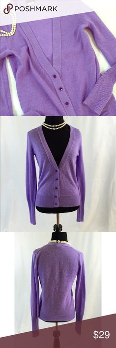 J. Crew // Bling Button Cardigan Merino Wool Blend Excellent used condition! Cozy and feminine lavender cardigan with gleaming purple rhinestone buttons. Spun from an Italian blend of alpaca and merino wool in a 7-gauge knit. Rib trim at neck, cuffs, and hem. Hits at hip. Very gently worn and in excellent condition. trades smoke free home J. Crew Sweaters Cardigans