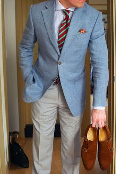 light blue cotton blazer. white oxford. red and aqua green striped tie. paisley pocket square. camel suede monk straps. spring/summer. dapper. style.