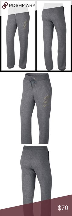 Nike metallic joggers Adding a stylish touch  Carbon grey and gold Brushed back fleece Elastic waist band with drawstring  Pockets at sides Cotton polyester and rayon Lining cotton and viscose Pull on styling  Relaxed fit Brand new authentic with tags please know sizing in Nike products before purchase Nike prices are firm Nike Pants Track Pants & Joggers