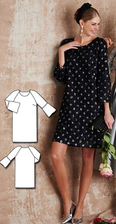 Bell Sleeve Dress Burda Mar 2016 #130  Pattern $5.99: http://www.burdastyle.com/pattern_store/patterns/bell-sleeve-mini-dress-032016