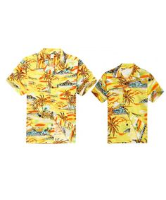 2516217e8 Matching Father Son Hawaiian Luau Outfit Men Shirt Boy Shirt Yellow Map -  Yellow Map - CE17XHMO73L