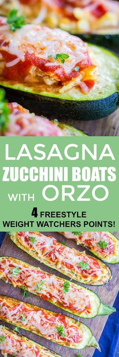 These Lasagna Zucchini Boats with Orzo taste just like regular lasagna, but are lower in carbs and mostly zucchini! These lasagna zucchini boats are filled with orzo, tofu ricotta, marinara sauce and cheese! They're healthy, delicious and filling! They can also easily be made vegan or gluten free! They're perfect for an easy and healthy weeknight dinner! #Zucchini #Healthy #Dinner #Vegetarian