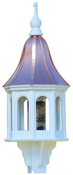 Stately Gazebo Bird Feeder is constructed to last a lifetime. Components are handcrafted using a CNC router to ensure absolute precision and quality in these architectural feeders. Made of cellular ex