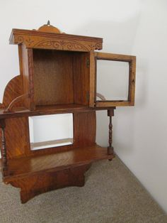 58082 Antique Victorian Oak Whatnot Curio Shelf Cabinet