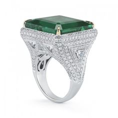 Elegant Diamond and Emerald Ring by TAKAT