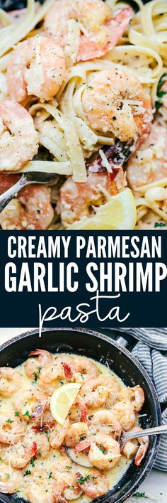 Creamy Parmesan Garlic Shrimp Pasta is the perfect quick and easy meal that is on the dinner table in less than 20 minutes! Shrimp get coated in the very best creamy parmesan garlic sauce and is wonderful tossed with fresh pasta. quick and easy meals Shrimp Recipes Easy, Fish Recipes, Seafood Recipes, Chicken Recipes, Cooking Recipes, Recipies, Meat Recipes, Shrimp Dinner Recipes, Best Food Recipes