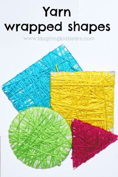 Yarn wrapped shapes will help children learn about features (sides, points etc) and develop fine motor skills too.
