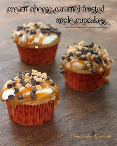 Cream Cheese and Caramel Frosted Apple Cupcakes with Mini Chips and Heath Bits
