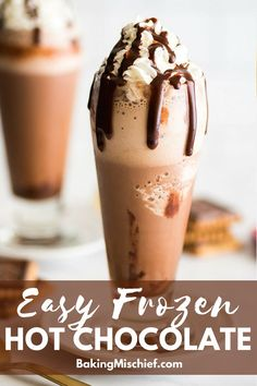 This is so good! Frozen Hot Chocolate is the perfect icy and refreshing easy dessert and can be made with just five ingredients and five minutes. | #chocolate | #summer |
