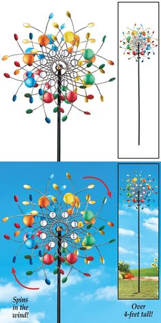 Windmills And Wind Spinners 115772: Garden Wind Spinners Kaleidoscope Metal  Outdoor Yard Whimsical Lawn Stake