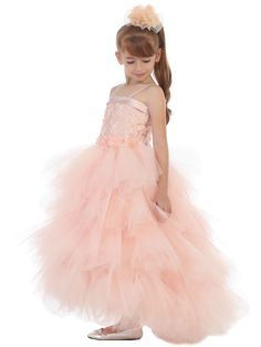 Girls Dress Style 1701- Spaghetti Strap Dress with Tiered Tulle Skirt in Choice of Color  Looking for something different and completely unique? This is it- this is so pretty and overall a sweet look for any event. The top bodice is made from bridal satin and adorned with beads.  The high- low design skirt commands attention with all of the pleated tulle layers throughout the skirting.  http://www.flowergirldressforless.com/mm5/merchant.mvc?Screen=PROD&Product_Code=CB_1701BL&Store_..