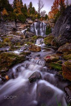 Rush At Inglis Falls II by Marvin Ramos Evasco on 500px..... #autumn #ontario #trees #canada #landscape #sunset #color #nature #light #rock #foliage #longexposure #flow #dusk #waterfalls #inglis #falls #fall #season