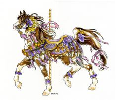 carousel spring final by hbruton traditional art paintings animals . Carousel Tattoo, Carosel Horse, Cross Stitch Horse, Horse Artwork, Unicorn Art, Horse Drawings, All The Pretty Horses, Equine Art, Artwork Design
