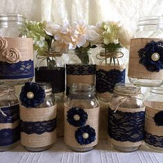 10x Rustic Burlap And Navy Blue Lace Covered Mason Jar Vases Wedding  Decoration, Bridal Shower