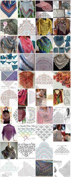 Omslagdoeken en Sjaals, veel er van met het bijbehorende patroon.
