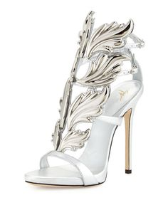 Coline Wings Leather High-Heel Sandal, Argento by Giuseppe Zanotti at Neiman Marcus. Manolo Blahnik Heels, Giuseppe Zanotti Heels, Zanotti Shoes, Ankle Strap High Heels, Leather High Heels, Ankle Straps, Leather Sandals, Mode Shoes, Metallic Sandals