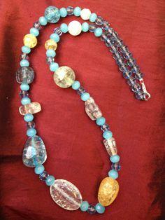 Handmade Glass Bead Necklace by ReprievesCorner on Etsy, $14.99