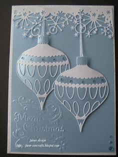 By Pam. Memory Box Colette Ornament and Frostyville Border dies.good morning everyone, This is a quick Christmas card New Memory Box August Release Colette Ornament & Drop Ornament. pale blue and white . two die cut ornaments with lacy die cut decora Homemade Christmas Cards, Christmas Cards To Make, Xmas Cards, Handmade Christmas, Homemade Cards, Holiday Cards, Christmas Crafts, Blue Christmas, Memory Box Cards