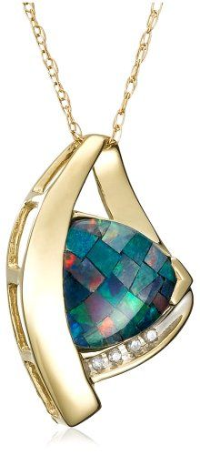 "10k Yellow Gold Trillion Cut Created Mosaic Opal and Diamond Pendant, 18"" -"