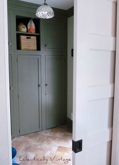 Cupboards and a pocket door