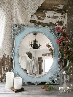 Gilded Ornate Vintage Aqua Blue & Gold Wall Mirror ~ Entry, Hall, Bathroom ~ Shabby Chic Cottage Style Decor by Prodigal Pieces on Etsy www.prodigalpieces.com