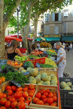 Market Day at Aix-en-Provence, watch out for the little ladies and their rolling shopping carts!!