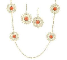Round Filigree Station Necklace & Earring Set by Garold Miller  $30