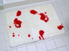 www.makeitindesign.com top ten Halloween bizarre bathroom bits - horror movie bath mat