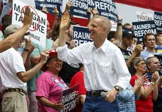 FILE - In this Aug. 16, 2017 file photo, Illinois Gov. Bruce Rauner greets supporters before he takes the stage at a Republican Day rally at the Illinois State Fair in Springfield, Ill. Four members of Gov. Rauner's communications staff have resigned weeks after being hired in the wake of the Republican's inconsistent response to a political cartoon that critics call racist. Rauner issued a statement Thursday, Aug. 24, 2017, saying Diana Rickert, Laurel Patrick, Meghan Keenan and Brittany…