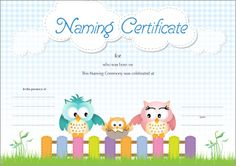 Owl Naming Certificate - Blue Wedding Renewal Vows, Naming Ceremony, Name Day, Certificate Templates, Baby Names, Blessed, Owl, Pink, Free