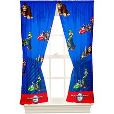 Super Mario Bedding The Finish Line Drapes Microfiber Window Curtains Window Panels, Panel Curtains, Curtain Panels, Drapery Rods, Mario Room, Nintendo Mario Kart, Online Shopping Canada, Super Mario Brothers, Game Room