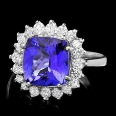 4.0 Ct tanzanite and 14k solid gold tanzanite ring with diamonds from Gemone Diamond, a leading diamond jewelry supplier online. December birthstones