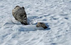 A mummified body photographed on March 5, 2015 is the body of a man discovered by Mexican alpinists on Pico de Orizaba, Mexico. Ice melting on the mountain caused by global warming exposed the mummy.