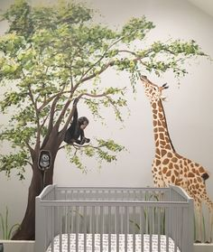 Safari jungle mural - featuring sweet baby giraffe, monkey and owl - painted in Chicago home by Debbie Cerone.