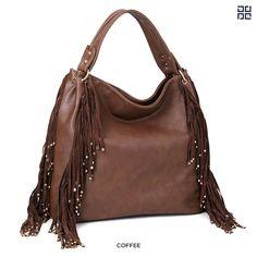 Dasein Fringe Studded Shoulder Hobo Bag - Assorted Colors at 84% Savings off Retail!