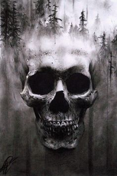 Here is my hyper realistic and surreal skull drawing with double exposure effect I did last year. I used only charcoal on smooth paper. Write in the comments below if you want others new surreal skull drawings Cool Skull Drawings, Skull Sketch, Skull Artwork, Realistic Drawings, Skull Tattoo Design, Skull Tattoos, Arte Horror, Horror Art, Skulls And Roses