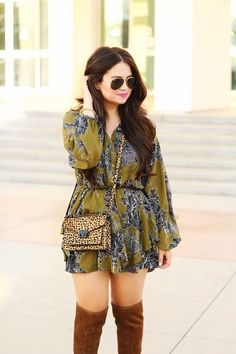 Pair a floral romper and over the knee boots for an effortless #boho #chic outfit like @Drewsoto #falloutfits